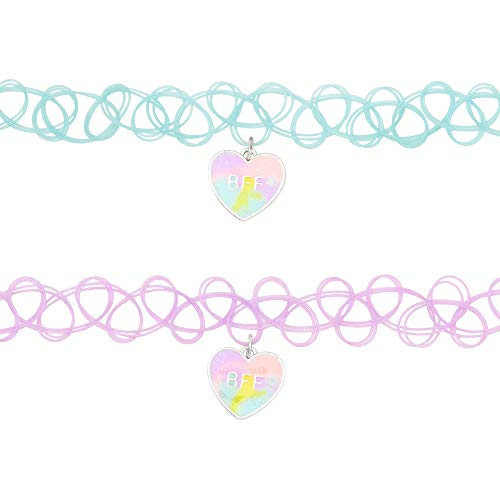 Claire's Matching Pastel Tie Dye Heart Tattoo Best Friends Choker Necklaces...