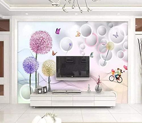 XHXI Flor Diente de león Mariposa 3D Tv Fondo Pared Dormitorio Papel mural 3D papel Pintado de pared tapiz Decoración dormitorio Fotomural-350cm×256cm