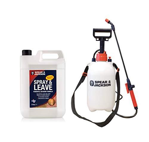 Spear & Jackson 5L Spray and Leave - 5L Pressure Sprayer - Concentrated Formula Treats up to 200 sqm - Lichen control - Garden Sprayer