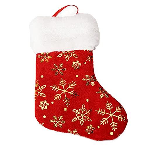 ALMAK - Calze natalizie personalizzate con ricamo, con nome argentato, con fodera in raso per la decorazione natalizia della famiglia