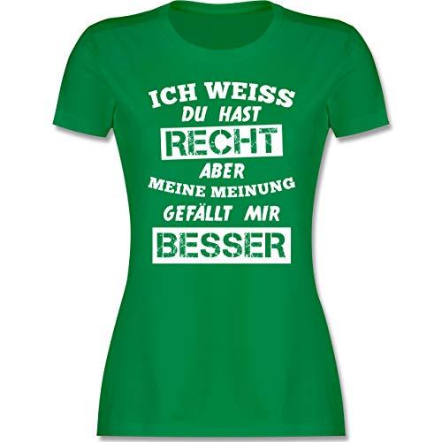 Sprüche - Meine Meinung Besserwisser - L - Grün - t Shirt Damen mit Spruch - L191 - Tailliertes Tshirt für Damen und Frauen T-Shirt