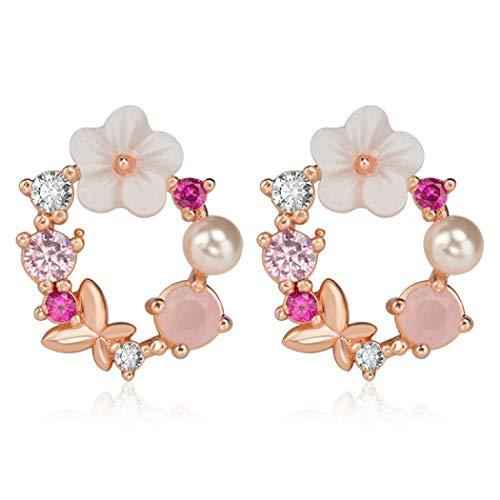 TseenYi - Orecchini a forma di fiore, con perle e fiocco, per donne e ragazze, oro rosa