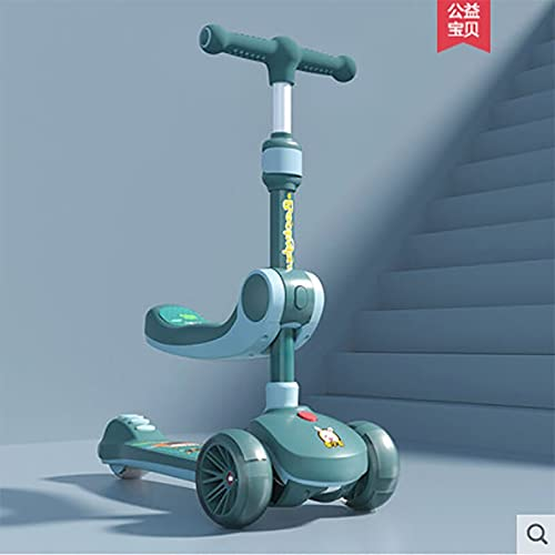 GLNuoke Scooter para niños El mejor regalo para niños con un botón plegable rápido para niños Scooter con asiento (color azul cielo)