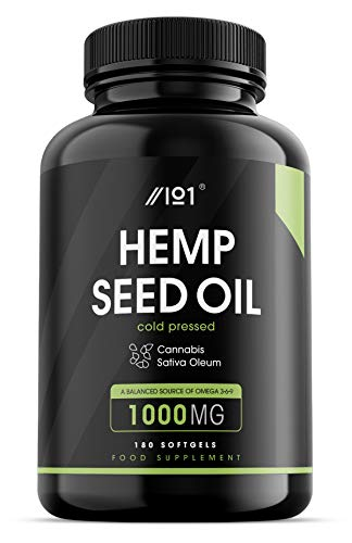 Hemp Seed Oil Softgels 1000mg - Made with Organic Cold-Pressed Hemp Seed Oil - 6 Months Supply - 180 Softgels - No Additives — Non-GMO, Gluten Free.