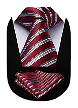 HISDERN Men s Striped Tie Woven Classic Necktie for Men With Pocket Square Set Formal Wedding Red
