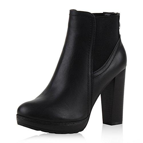 SCARPE VITA Damen Ankle Boots Plateau Stiefeletten Zipper Holzoptikabsatz 152626 Schwarz Zipper 38
