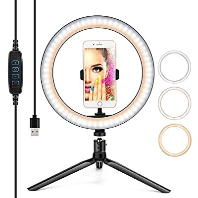 """10"""" Ring Light LED Desktop Selfie Ring Light USB LED Desk Camera Ringlight 3 Colors Light with Tripod Stand iPhone Cell Phone Holder and Remote Control for Photography Makeup Live Streaming from YESKER"""