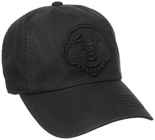 True Religion Men's 3D Buddha Baseball Cap, Black, One Size