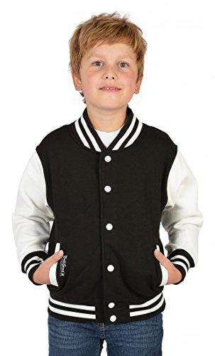 Goodman Design ® Jungen USA Collegejacke - Beale Street 56 - in schwarz - Geschenk/Rockabilly Outfit für Schule oder Freizeit, Kinder Größe:L / 140