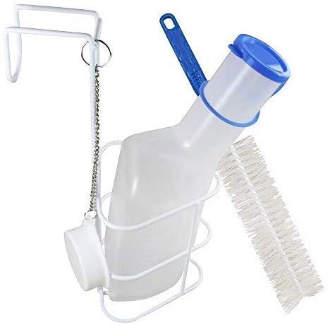 Medi-Inn Urinflasche PP milchig   1 Liter Fassungsvermögen   autoklavierbar   mit Betthalter und Reinigungsbürste