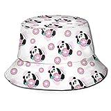 136 Hermoso sombrero de pescador con diseño de panda, unisex, plegable, informal, para viajes, playa, para el sol