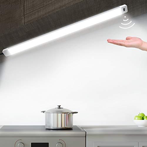 Réglette LED avec capteur - Ultra fine - Intensité variable - Éclairage sous meuble - Lumière blanche naturelle 4000 K