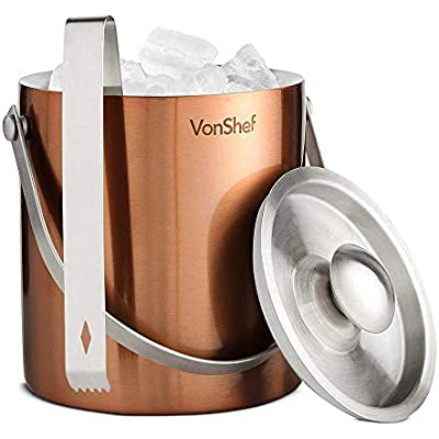 VonShef Copper Ice Bucket with Lid 2 Litre Double Walled Insulated Stainless Steel INCLUDES Tongs Carry Handle