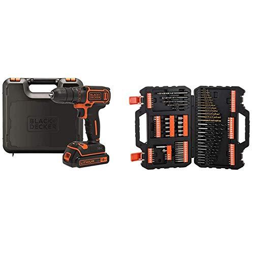 BLACK+DECKER BDCDC18K-QW Trapano Avvitatore, 18 V, al Litio, 1.5 Ah, Valigetta, Arancione + A7200-XJ Titanium Set per Forare ed Avvitare, 109 Pezzi