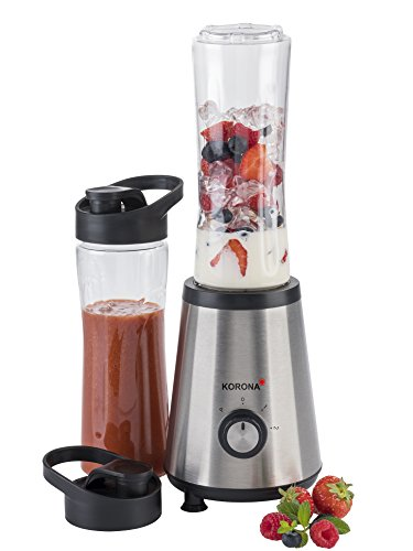 Korona 24300 Smoothie Maker mit 2 Bechern á 600 ml-Kompakter Pürieren, Mixen, Schneiden, Schlagen und Zerkleinern, 1.2 liters, Edelstahl-schwarz