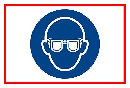 Stickers schild - Bodstekens - oogbescherming gebruiken - komt overeen met DIN ISO 7010/ASR A1.3 - S00361-007-B +++ in 20 varianten verkrijgbaar.