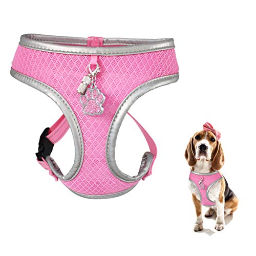 Reflective Dog Cat Harness No Pull Soft Mesh Adjustable Safe Harness for Small and Medium Pink XS