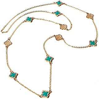 Amrita Singh Bohemian Fashion Statement Attractive Long Noho Turquoise Filigree Enamel Coated Four petal Irish luck Charm ...