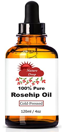 Nature Drop's Rosehip Oil, 4 oz - 100% Pure, Cold Pressed Premium Rosehip Seed Oil. Best Natural moisturizer to heal Dry Skin, Fine Lines & Scars