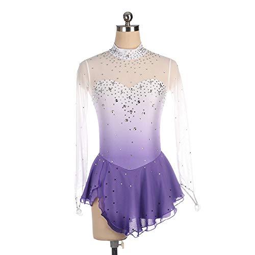 LYABANG Eislaufkleid Für Mädchen,Handgemacht Eiskunstlauf Professionel Weich Bequem Atmungsaktiv Hohe Elastizität Turnierkostüm Auf Bestellung Langarm Kleid,Gradient-Purple-XXL