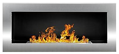 Bio Ethanol Fire BioFire Fireplace Modern 900 x 400 Stainless steel