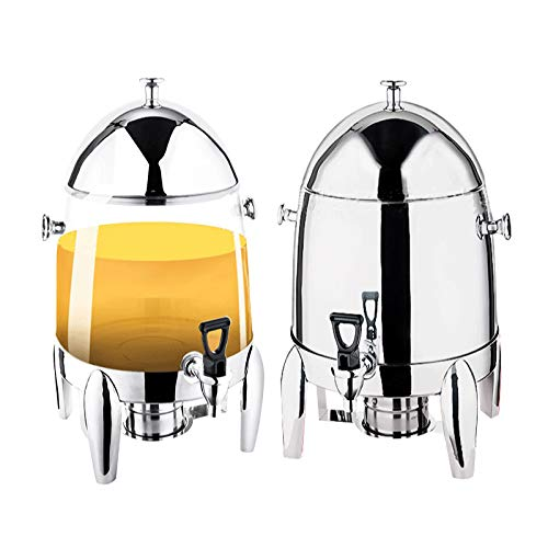 2 Pack Stainless Steel Hot Beverage Dispenser Heavy-Duty Chafer Coffee Urn with Fuel Holders And Leak Free Faucet for Restaurants, Buffets, 12L Large Capacity