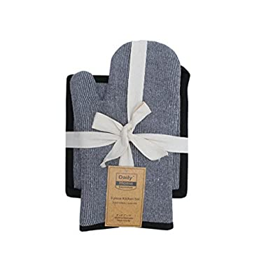DAILY HOME ESSENTIALS Kitchen Linen Set | Heat Resistant Oven Mitt & Potholders For Baking, Grilling, Barbecue & More. Chambray Black.