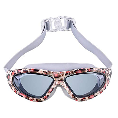 WENNEW Adult Printed Liquid Goggles Electroplated Raincoat and Anti-Fog Swimming Goggles Leopard-Print HD Swimming Goggles (Color : 02)