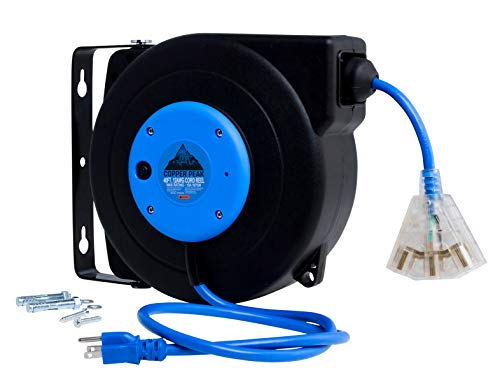 CopperPeak 40 Foot Retractable Extension Cord Reel  Ceiling or Wall Mount  12 Gauge  Blue and Black