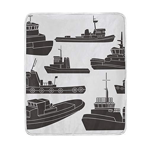 Tugboat Clipart Weiche, warme Überwurfdecken, leicht, Samt, Kurze Plüsch-Mikrofaser-Decke für Bett, Couch, Sessel, Sofa, Reisen, Camping, 127 x 152 cm