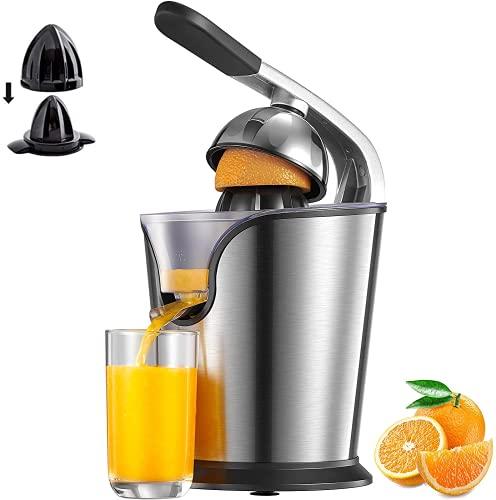 Zitruspresse Elektrisch, 160W Orange Saftpresse mit Hebelarm, Citrus Juicer 2 Rechtsrotierende Presskegel für Frische Zitrusfrüchten, Tropf-Stopp-Funktion, Spülmaschinenfest, BPA-frei