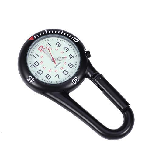 ULTECHNOVO - Reloj de pulsera con clip en color negro, con mosquetón giratorio, bisel luminoso, para médicos, enfermeras, cocineros, escalada, montañismo