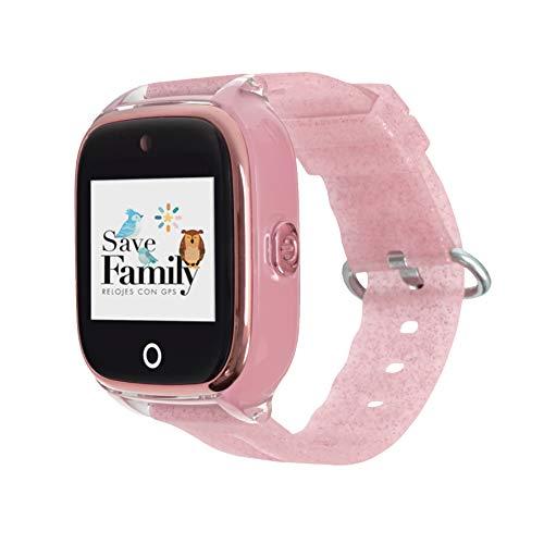 Reloj con GPS para niños SaveFamily Infantil Superior acuático Ip67 con cámara. Botón SOS, Anti-Bullying, Chat Privado, Modo Colegio, Llamadas y Mensajes. App SaveFamily. Incluye Cargador. Rosa