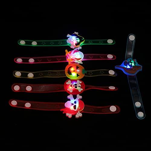 ABOOFAN 12 Piezas de Pulsera de Brillo de Halloween Pulsera Intermitente de Juguete con Patrón de Calavera de Calabaza Brazalete Luminoso Accesorios de Fiesta de Halloween para Niños Y