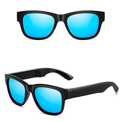 JEANMISS Bluetooth Gafas de Sol,Gafas Inalámbricas Conducción Ósea Toque Inteligente para Escuchar Música y Llamadas,Auriculares Impermeable Sudor,Compatibles con iOS/Android/Windows,Ice Blue