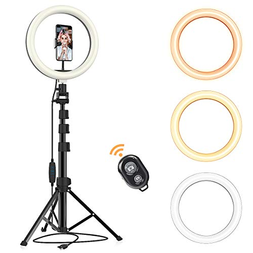 Selfie Ring Light with Tripod Stand & Phone Holder for Live Stream/Makeup/YouTube/TikTok/Photography Dimmable 3 Light Modes &10 Brightness Compatible with iPhone Xs Max XR Android (Upgraded)