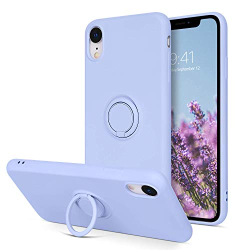 BENTOBEN Liquid Silicone Case for iPhone XR, iPhone XR Case Rubber, Liquid Silicone Soft Gel Rubber 360 Rotatable Ring Holder Kickstand Case for iPhone XR - Purple
