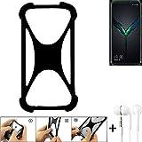 K-S-Trade® Handyhülle Für Xiaomi Black Shark 2 Pro Schutzhülle Bumper Silikon Schutz Hülle Cover Case Silikoncase Silikonbumper TPU Softcase Smartphone, Schwarz (1x), Headphones