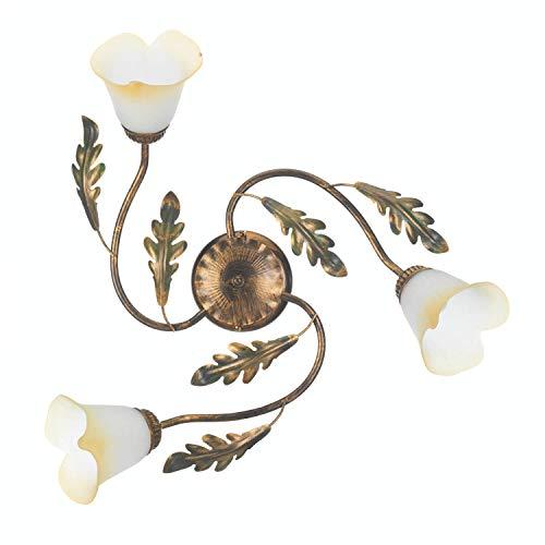 ONLI - Plafonnier 3 bras en métal marron nuancé or décoration feuilles