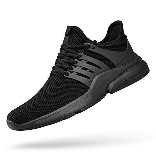 ZOCAVIA Men's Running Shoes Ultra Lightweight Tennis Gym Shoes Slip On Knitted Fitness Slip Resistant Walking Workout Shoes Black Size 13