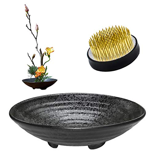 WANDIC Suministros de arreglo de Flores, Juego de 2, Rana de Flores Redondas y Maceta de cerámica para arreglo Floral Ikebana Art decoración del hogar Oficina