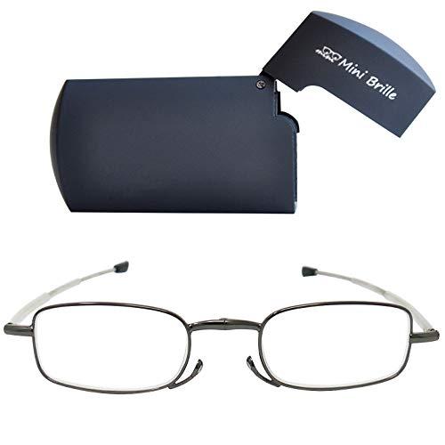 Kompakte faltbare Lesebrille aus Metall mit Teleskop-Bügeln (Graphit) GRATIS Flach Flip Top Brillenetui, klappbare Faltbrille aus Metall, Lesehilfe Herren und Damen von Mini Brille +2.0 Dioptrien