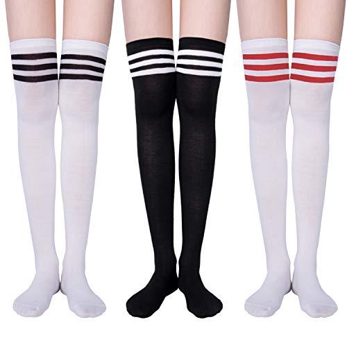 YSense 3 Paar Overknee Strümpfe Kniestrümpfe Lange Damen Socken Knee High Socks MEHRWEG