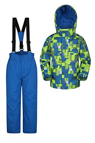 Mountain Warehouse Kinder-Skijacke- und Hosen-Set - Schneesicher, Vordertaschen, Fleece gefüttert, Integrierter Schneefang - ideal für Snowboarden im Winter Limette 3-4 Jahre