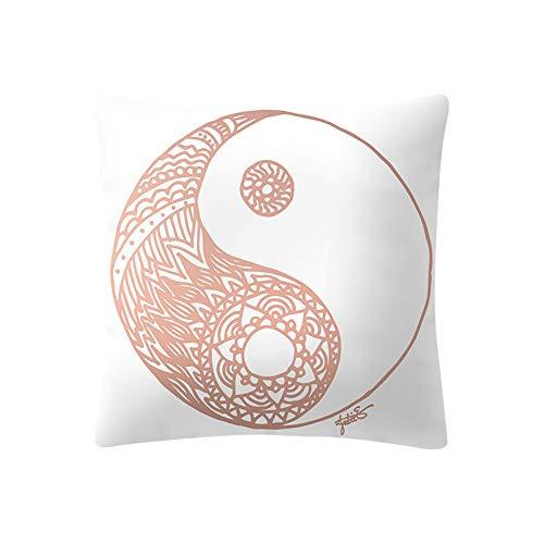 Transwen Fundas de cojín, oro rosa, patrón cuadrado, para sofá, cintura, decoración del hogar, F, 45 x 45 cm
