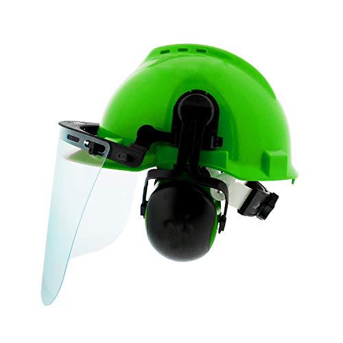 Felled Forestry Safety Helmet – Vented Forestry Hard Hat, Mesh/Plastic Safety Visor, Earmuffs – Chainsaw Helmet System
