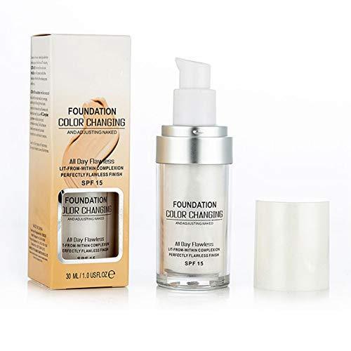 Allbesta changement de couleur Fondation liquide Cache-cernes, base de maquillage Nude Changez votre teint en mélangeant