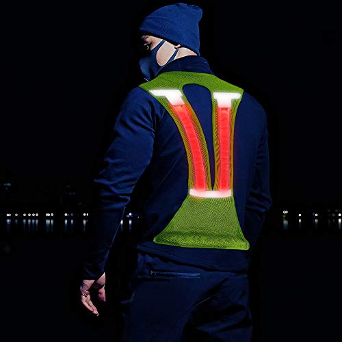 ELANOX LED Warnweste reflektierende Weste Sicherheitsweste mit reflektierenden Streifen für Outdoor-Aktivitäten bei Dunkelheit (grün)