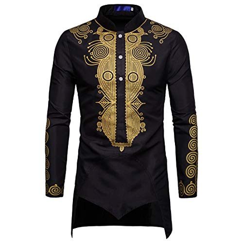 Hemd Herren Bluse Herren Casual Fashion Button Langarm Bedruckte Classic Herren Tops Herbst Design Lange Lose Professionelle Herren Bluse B-Black L