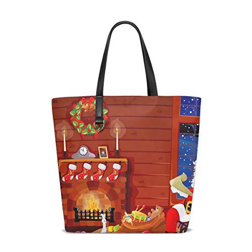 MALPLENA Weihnachten Kamin Muster Totes Schulter Arbeitstasche Handtasche
